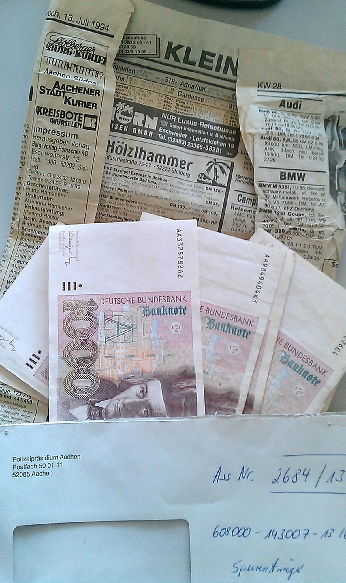Kurios: Kleingärtner findet 20.000 D-Mark im Bilderrahmen ...